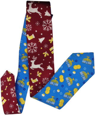 Reversible Christmas/Hanukah Holiday Silk Tie Blue/Red