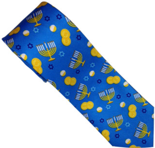 Hanukah Holiday motif 100% Silk Tie Blue