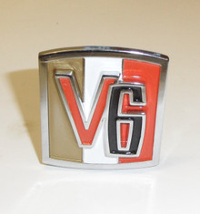 Reproduction V6 emblem   V6 emblem. Cast,, chrome plated, polished, painted to the original colors. Came on Kaiser jeep error that had the V-6 Dauntless motors.