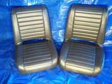 Black Horizontal Tuck and Roll Pleated Front Seat. CJ as Well
