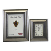 Silver Picture Frame and Alarm Clock