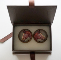 Horse Cufflinks (Brown)