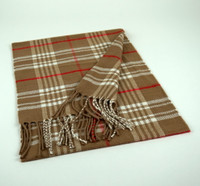 Cashmere Scarf - Tan Plaid