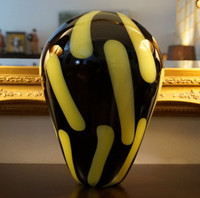 Black and Yellow Murano Glass Vase