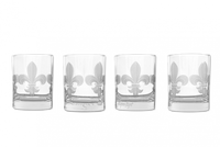 Fleur de Lis Double Old Fashioned Glasses