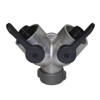 """1 1/2"""" female inlet with 2 1"""" male outlets this wye valve is great for wildland operations. Rugged, durable and made in the USA."""