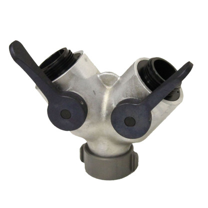 """1 1/2"""" female inlet with 2 1 1/2"""" male outlets. Our wye valve is proudly Made in the USA to your standards"""
