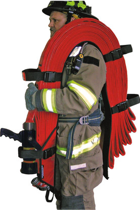 High rise pack for longitudinal hose bed compartments