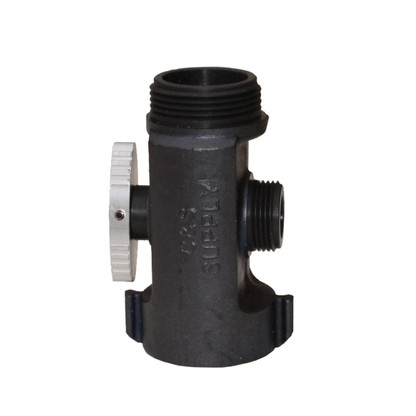 """T valve with 1 1/2"""" female NST inlet, 1 1/2""""male NST outlet and 1"""" male NPSH outlet"""