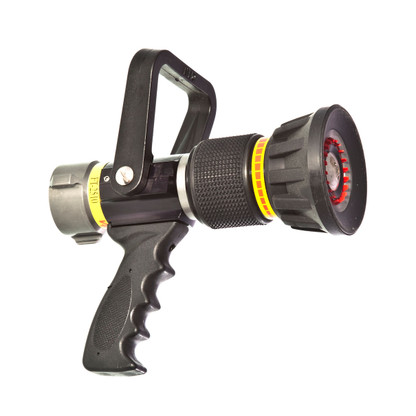 """25 - 100 GPM 1 1/2"""" automatic nozzle shown with pistol grip"""