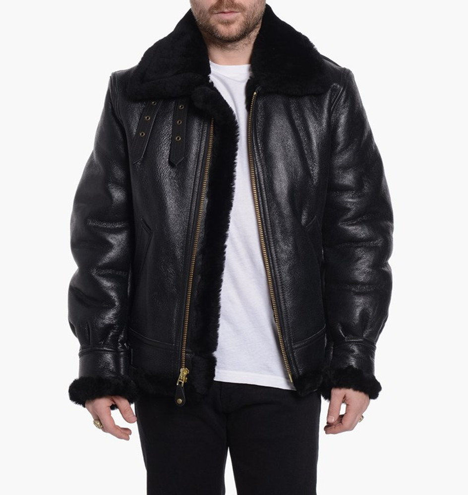 Classic B-3 Sheepskin Leather Bomber Jacket ebony black - SUNSET ...