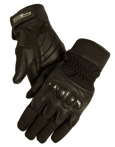 Men Motorcycle GLOVES: .Men's Gel Padded Textile and Leather Racing Gloves