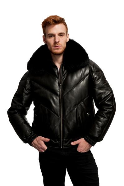 Original Goose | Baron Leather/Down Filled V-Bomber fox collar