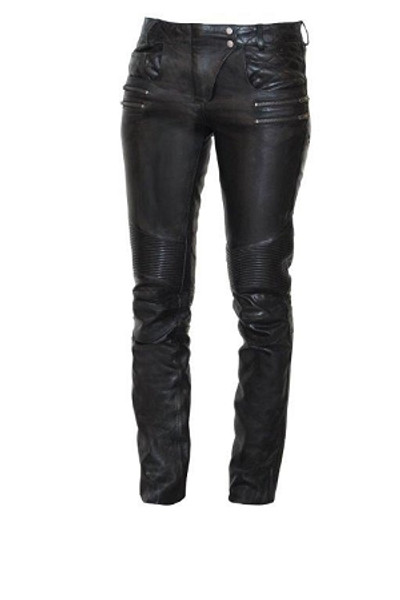 First Classic Women   Detailed  Leather Jean Pants
