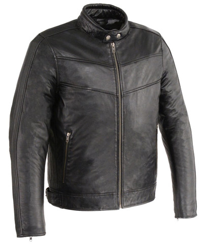 men fitted leather jacket