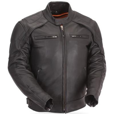 Men motorcycle leather jacket vented  reflective