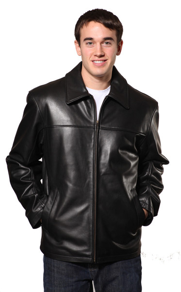 Men classic hipster soft leather jacket