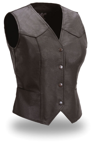 Ladies Fitted Snap Front Black Leather Motorcycle Vest by First Manufacturing Co.