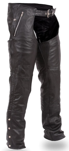 Unisex Double Deep Pocket Thermal Leather Chaps