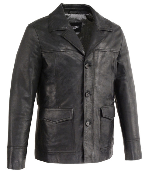 MENS LEATHER CAR COAT - SUNSET LEATHER