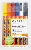 Molotow ONE4ALL 6 colors basic set 2mm refillable