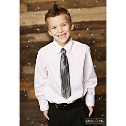 Mustard Pie Holiday Snow Angels Boys Neck Tie - Black Shimmer