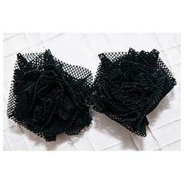 Persnickety Nob Hill Mesh Rosette Clips - Black