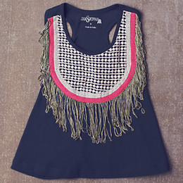Jak & Peppar Fringe Down Crop - Navy Bean