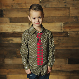 Mustard Pie Enchanted Boy's Neck Tie - Holly Plaid