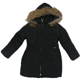 Mayoral Quilted Coat w/Removable Faux Fur Hood - Black