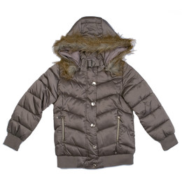 Mayoral Puffer Bomber Coat w/Removable Faux Fur Hood - Vison