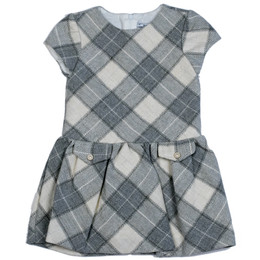 Mayoral Cap Sleeve Plaid Dress - Gray