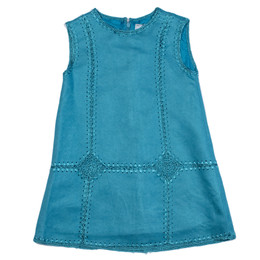Mayoral Embroidered Suede Pinnafore Dress - Opal