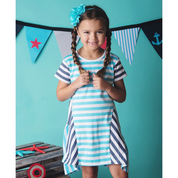 Lemon Loves Lime Ship Ahoy Dress - Blue/White
