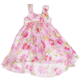 Kate Mack Gingham Garland High Low Chiffon Dress
