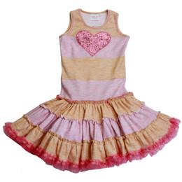 Ooh La La Couture Striped Heart Twirly Dress - Honey / Pink Parfait