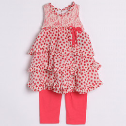 Isobella & Chloe Dainty Heart 2pc Set - Coral