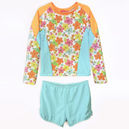 Isobella & Chloe Mango Delight 2pc Rashguard Swimsuit - Orange