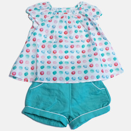 Mayoral Linen 2pc Dots Top & Short Set - Jade