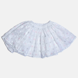 Mayoral Embroidered Dot Tulle Skirt - White