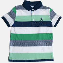 Mayoral Stripe S/S Polo Shirt - Arugula