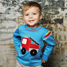 Lemon Loves Lime Gnu Brand Fire Truck Signal Tee - Blue