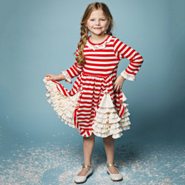 Lemon Loves Lime Holiday Candy Cane Lace Dress - True Red & Eggnog