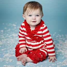 Lemon Loves Lime Holiday Peppermint Romper -  Red & Eggnog