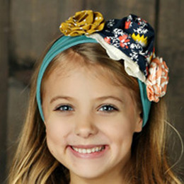 Mustard Pie Jeweled Forest Flora Headband - Aqua