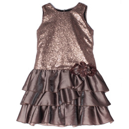 Isobella & Chloe Mocha Swirl Drop Waist Tiered Dress