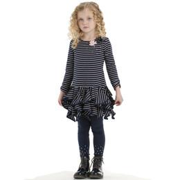 Biscotti Savvy Scallops Ruffle Skirt Dress - Navy