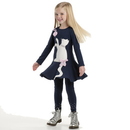 Kate Mack Pretty Kitty Dress - Navy