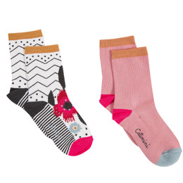 Catimini Graphic Floral Ma De Moizele Socks - 2 pairs - Floral