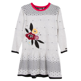 Catimini Graphic Floral Ma De Moizele Sweater Dress